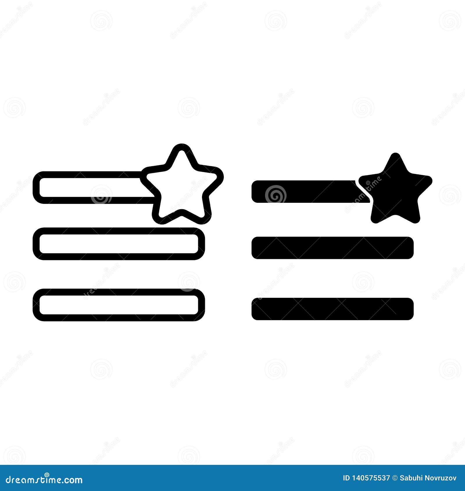 Humburger-Menülieblinge zeichnen und Glyphikone Menüzeichen mit einer Sternvektorillustration lokalisiert auf Weiß nearsighted