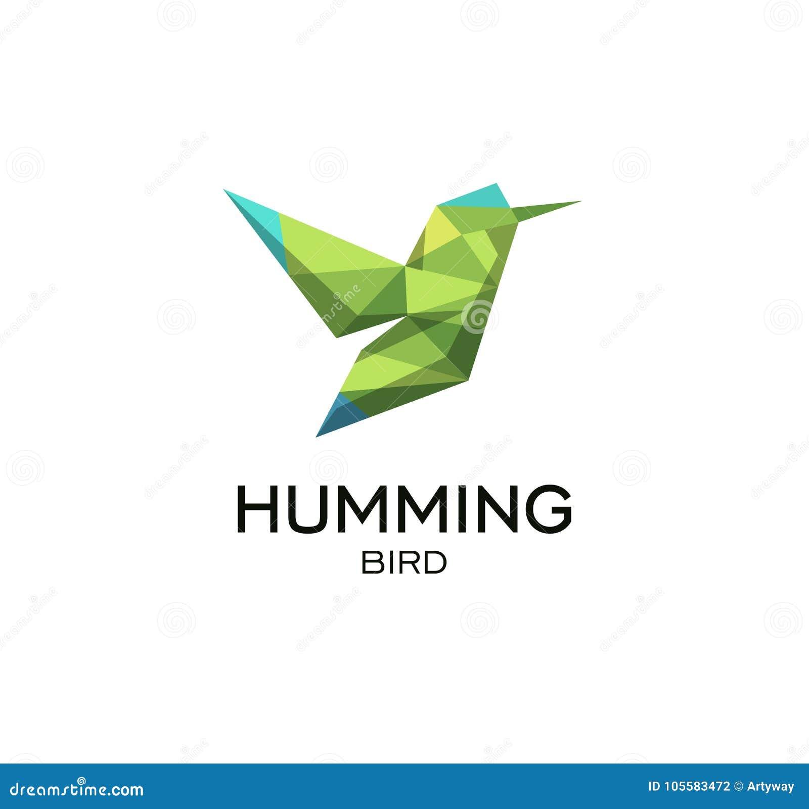Hummig ptasi geometrical znak, calibri loga abstrakcjonistyczny poligonalny wektorowy szablon Origami zielonego koloru niski poli