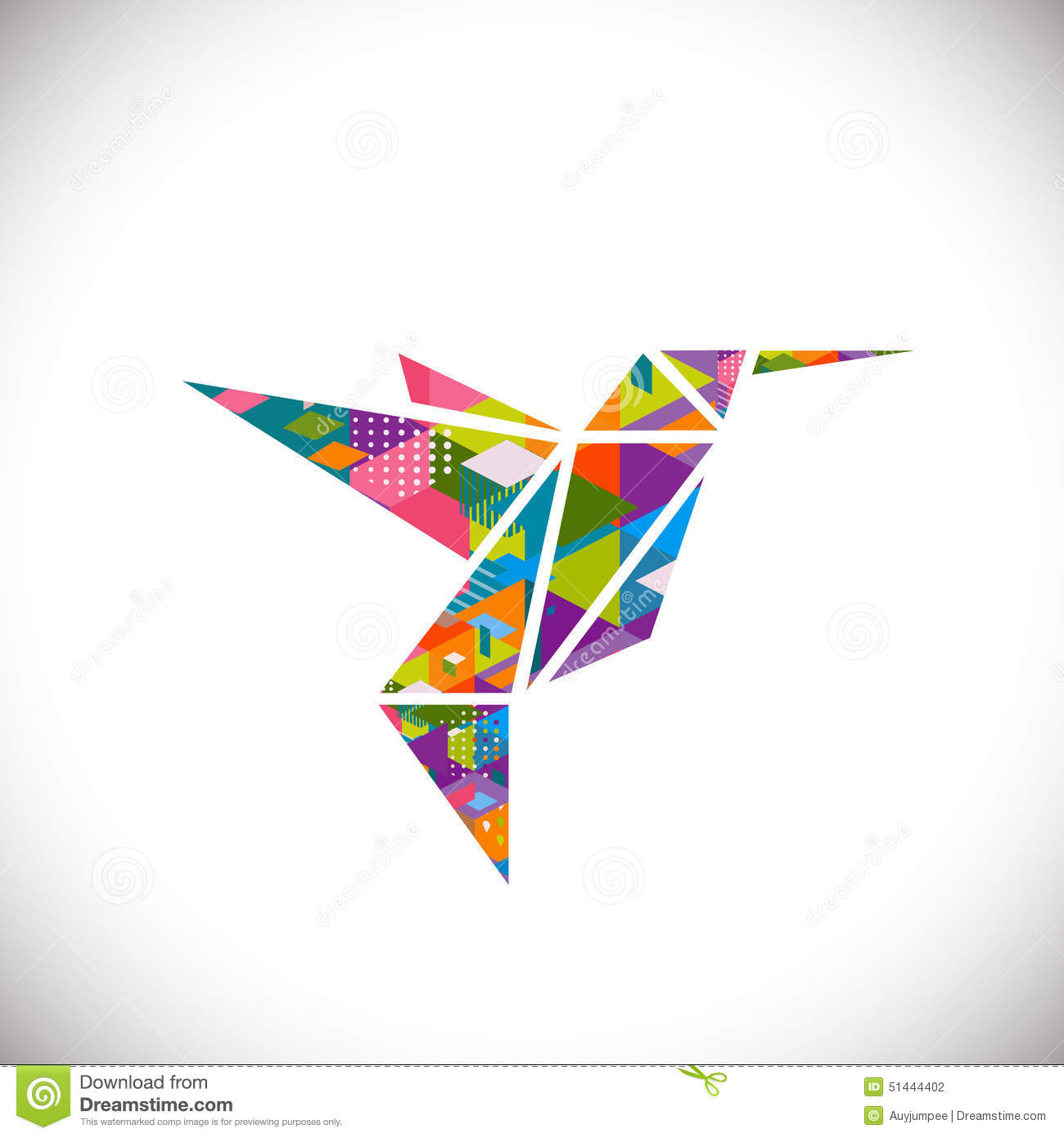 Humming bird symbol with colorful geometric graphic in for Triangle concept architecture