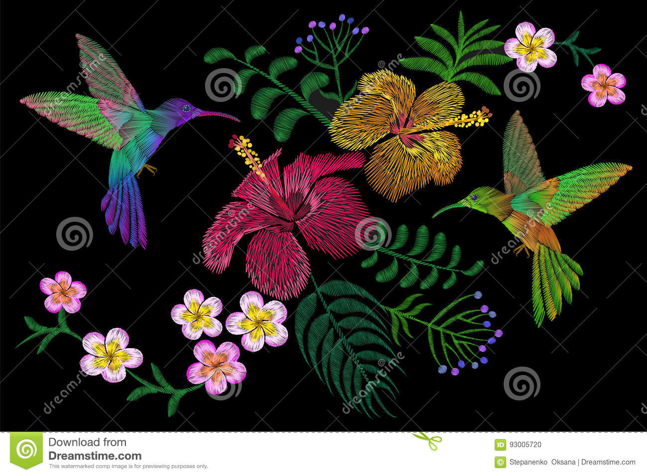 Hummingbird around flower plumeria hibiscus exotic tropical summer blossom. Embroidery fashion patch decoration textile