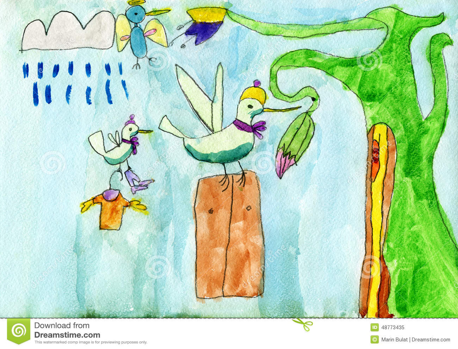 Hummingbird Colibri An His Family. Stock Illustration ...
