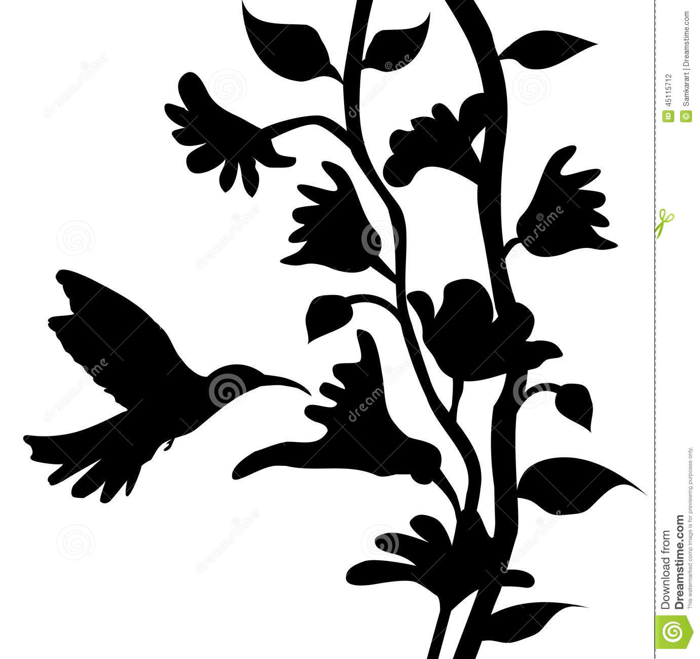 Flower And Butterfly Wall Stickers Hummingbird And Flowers Silhouette Vector Stock Vector