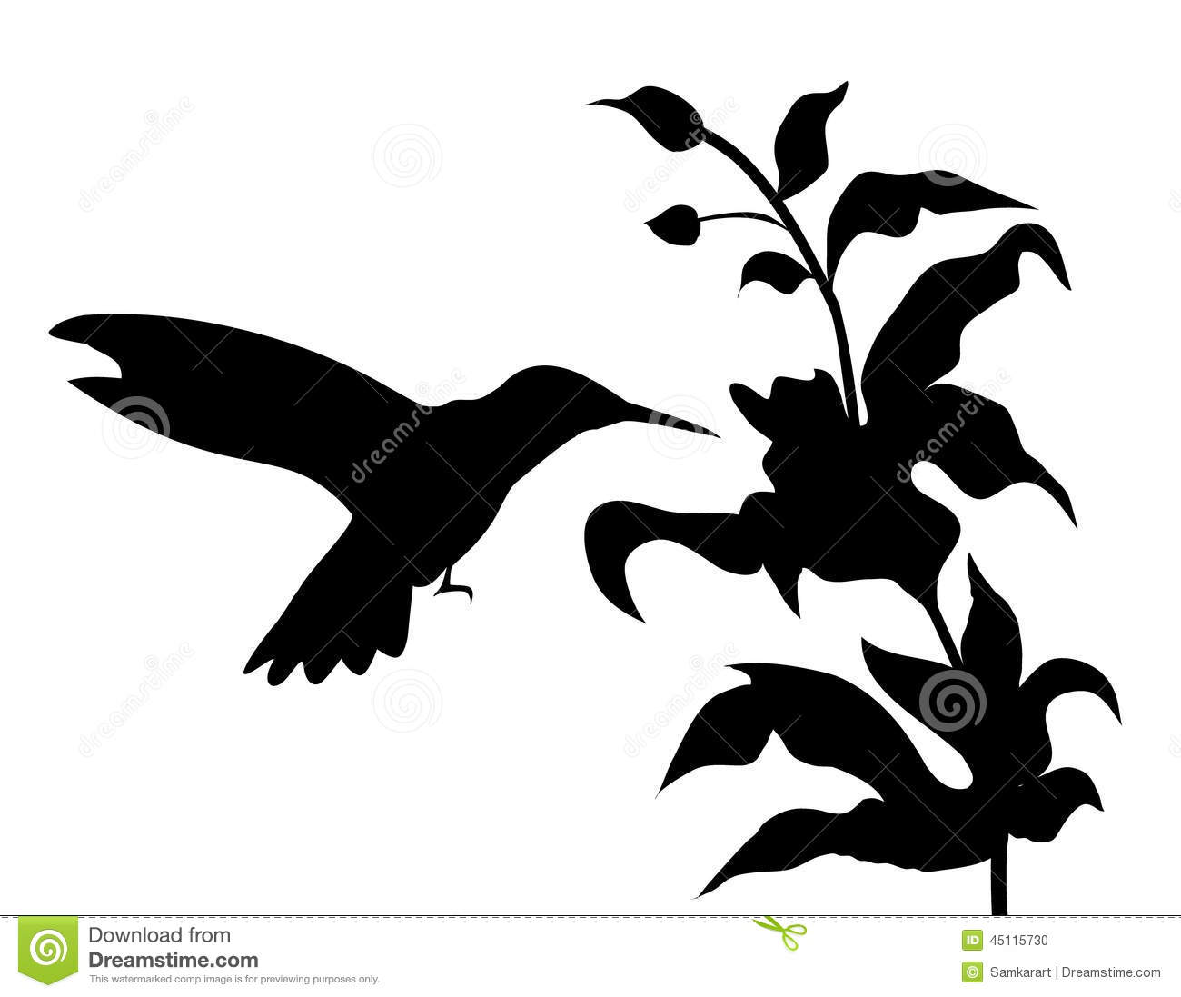 hummingbird and flowers silhouette vector stock vector rh dreamstime com flower petal silhouette vector flower silhouette vector free