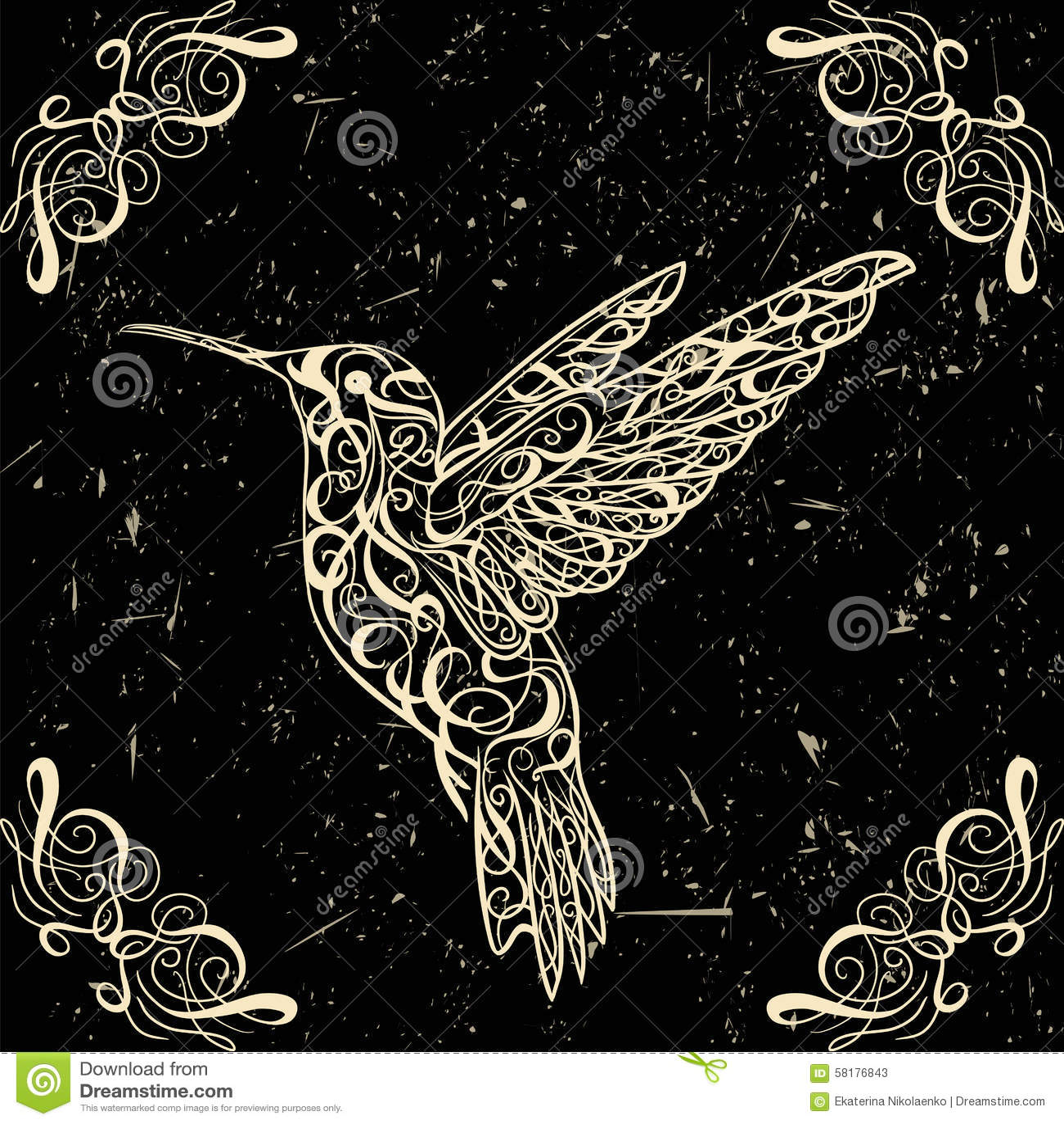 Hummingbird. Tattoo art. Retro banner, invitation,card, scrap booking. t-shirt, bag, postcard, poster.