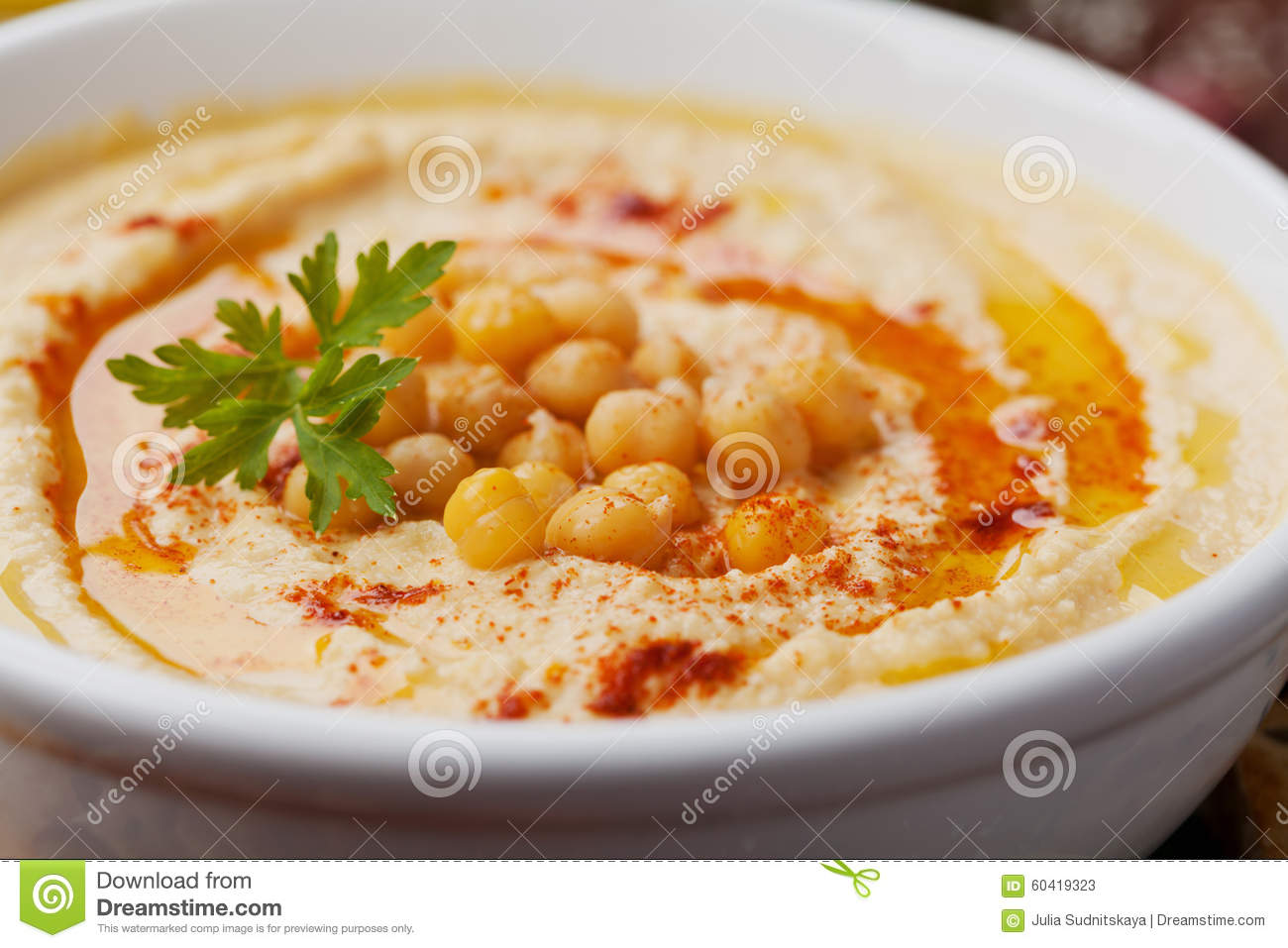 Hummus Or Houmous, Appetizer Made Of Mashed Chickpeas ...