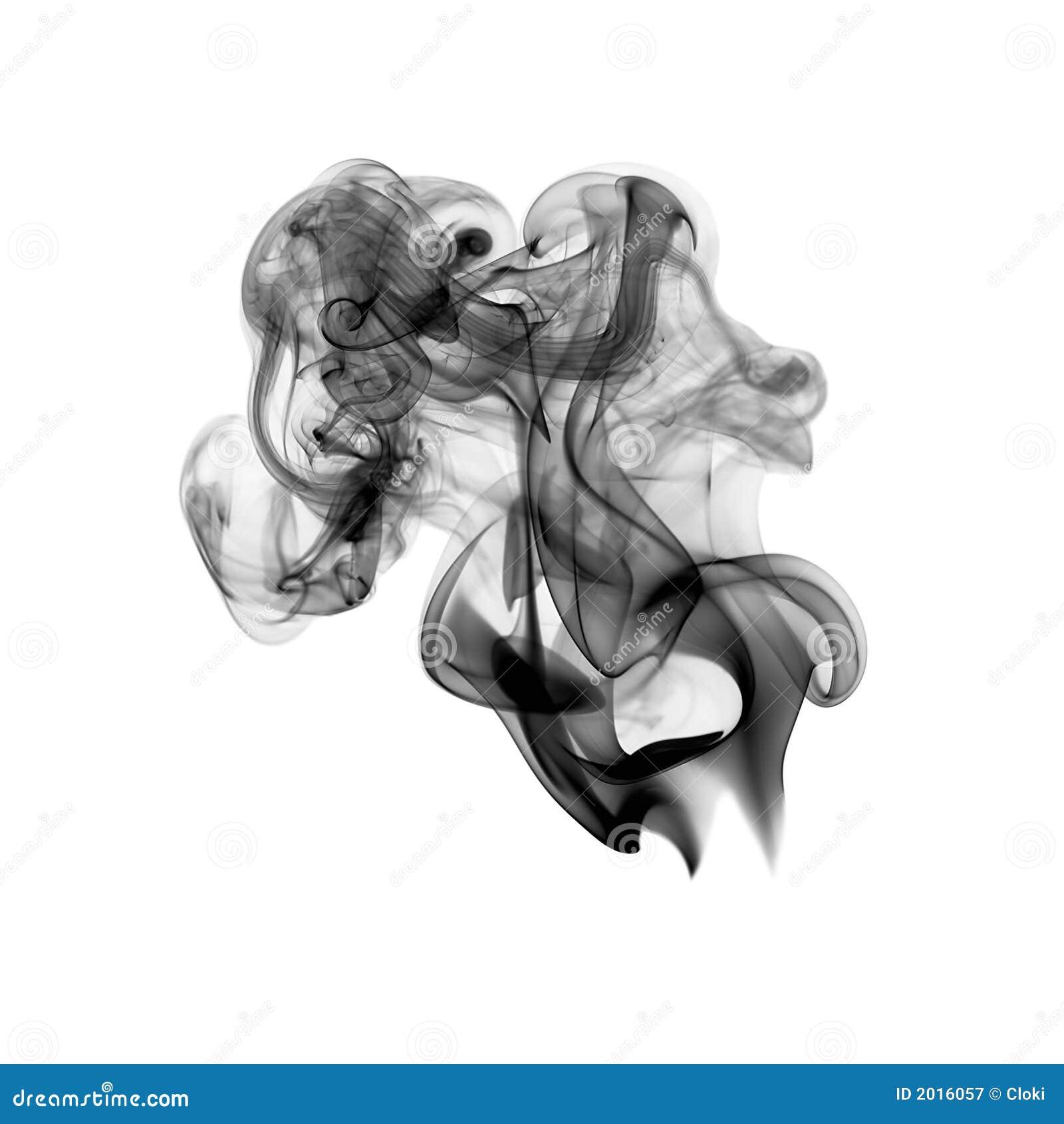 White Facing Weed Humo Negro Aislado En Blanco