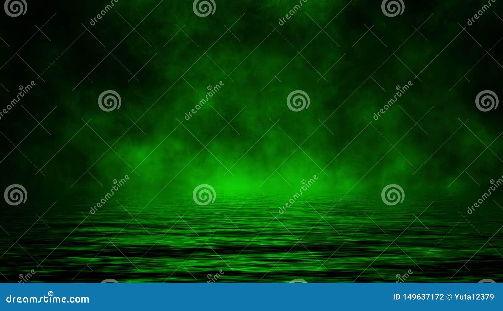 Humo verde con la reflexi?n en agua Fondo de la textura de la niebla del misterio Elemento del dise?o