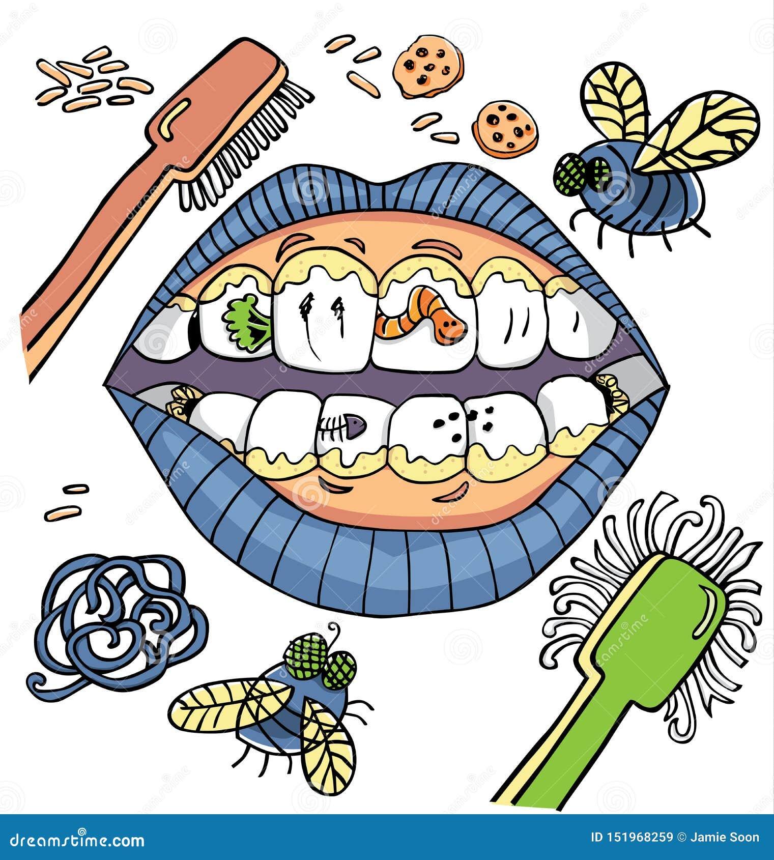 Humor dental de la higiene del vector con la boca que muestra los dientes sucios con los gusanos y placa y verduras