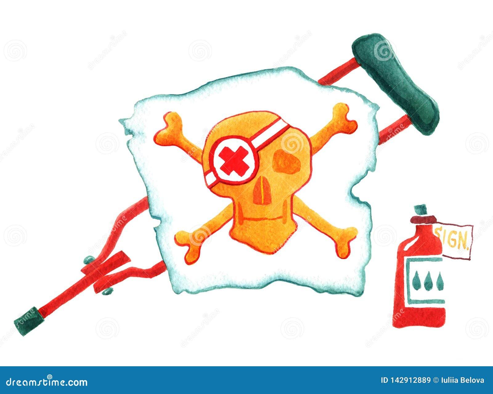 Humor Medycyna Apteki kolba szczudło Biała flaga czaszka i kości beak dekoracyjnego latającego ilustracyjnego wizerunek swój papi
