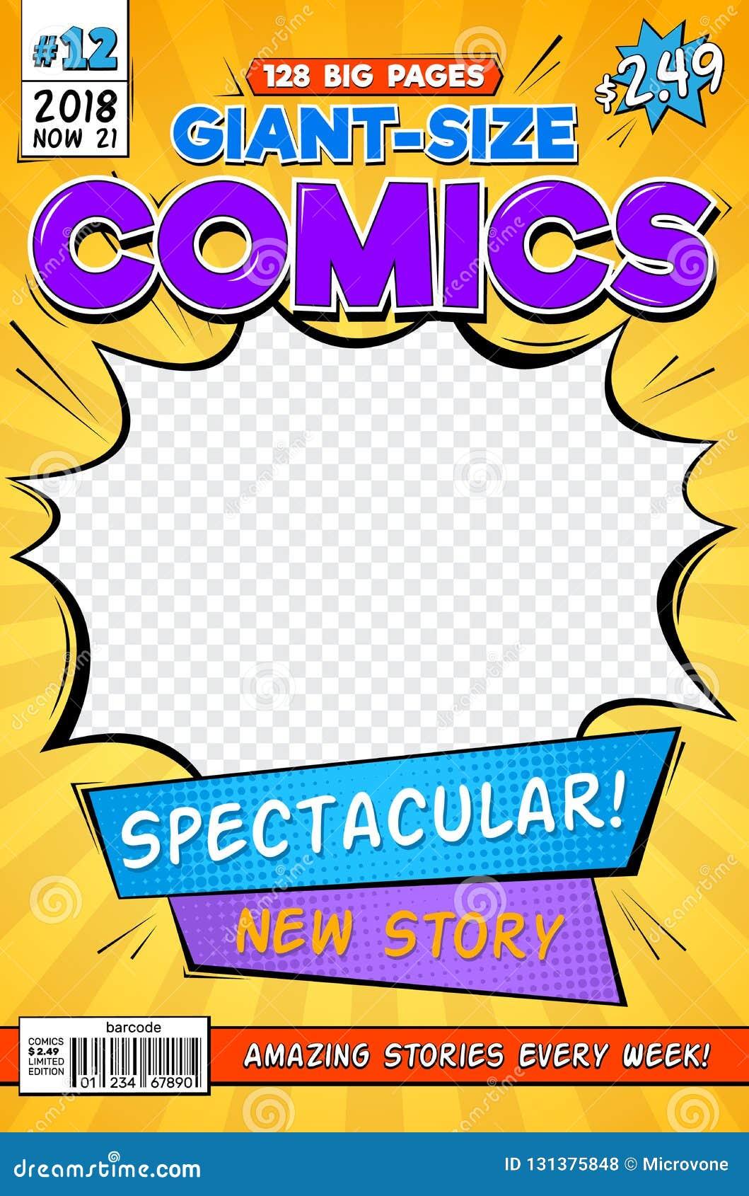 Humorbokräkning Orientering för tappningkomikertidskrift Mall för vektor för tecknad filmtitelsida