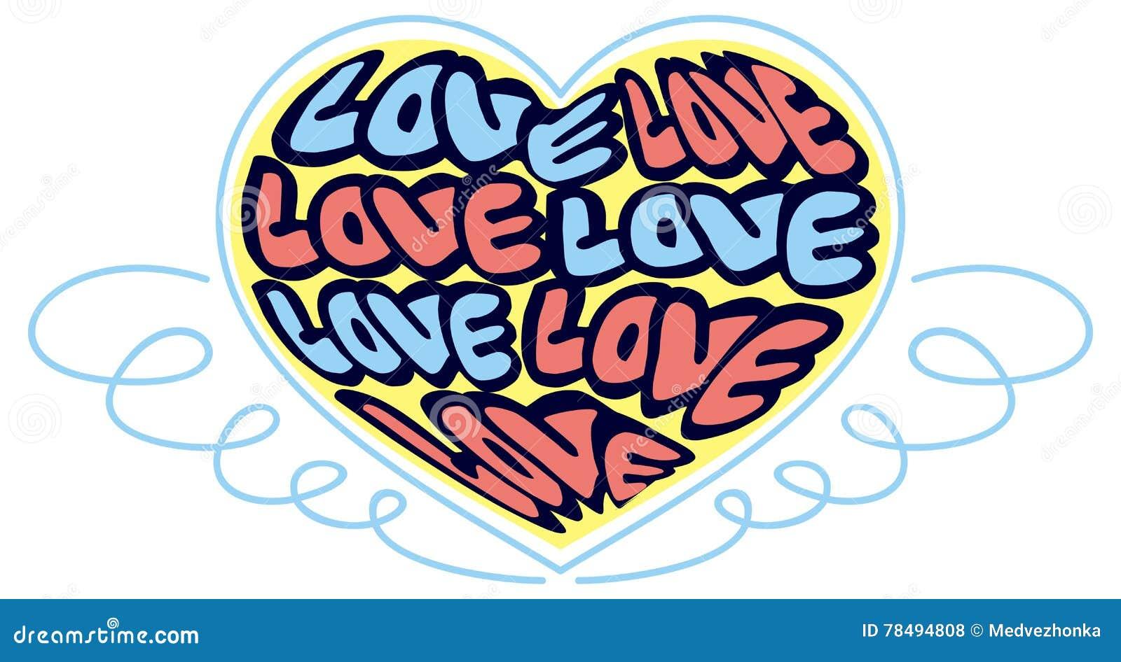 Humoristiskt emblem med ord & x22; love& x22;
