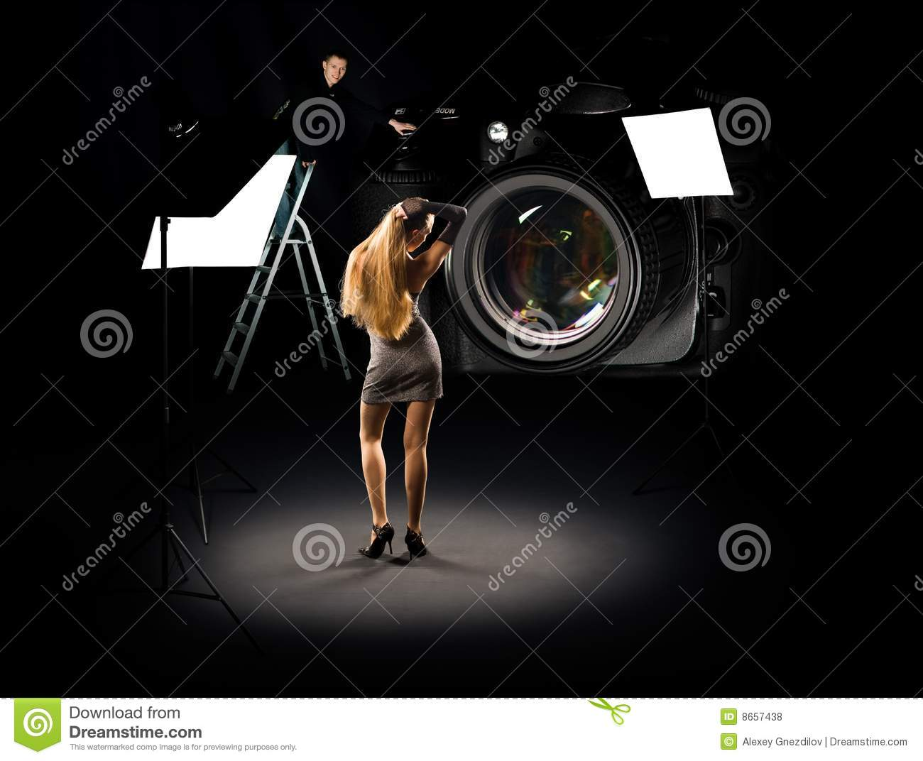 Humorous collage of photographer and model
