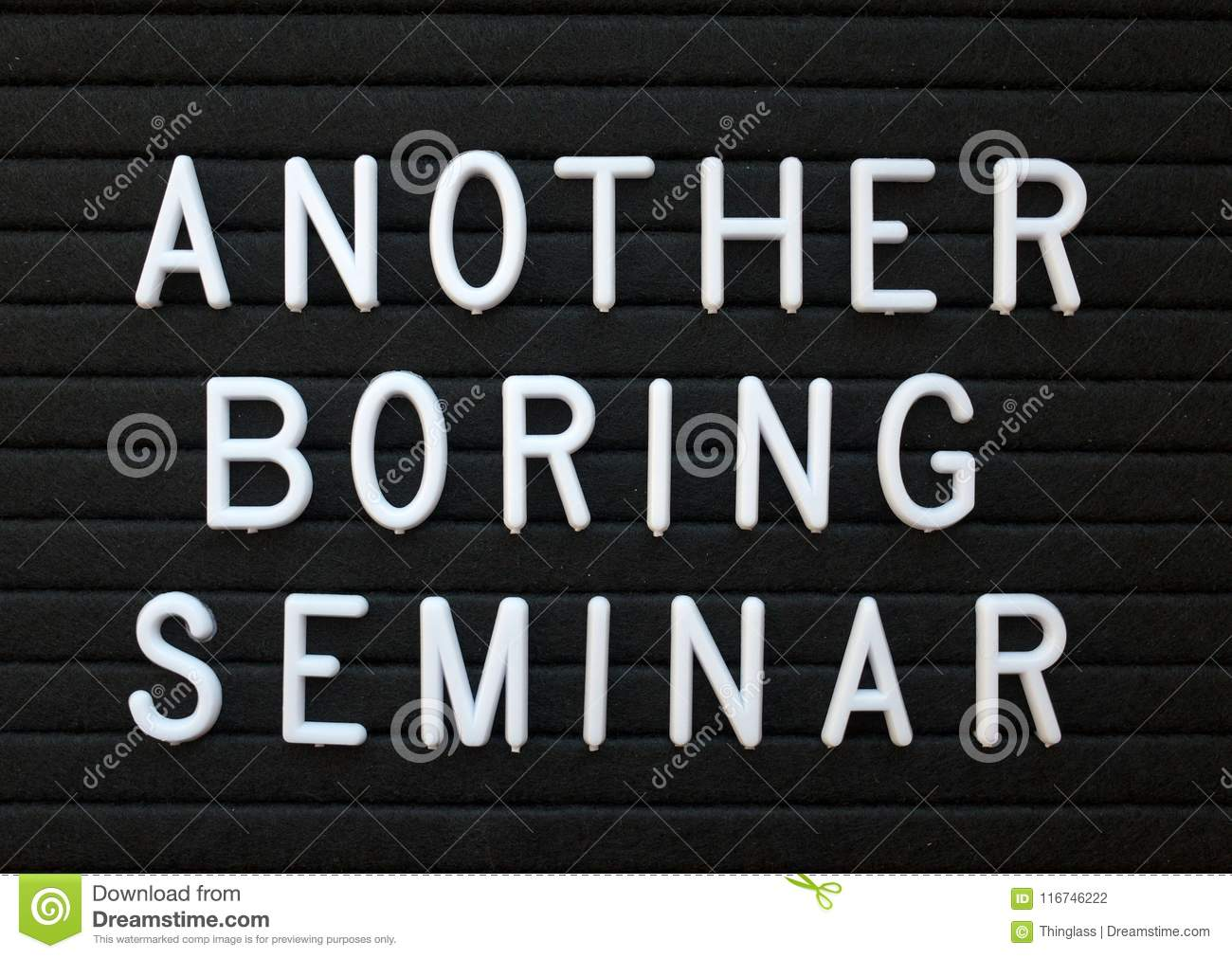 Humorous Take On Seminars That Are A Waste Of Time Stock