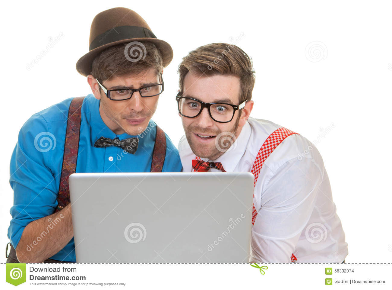 Humour business men with laptop computer