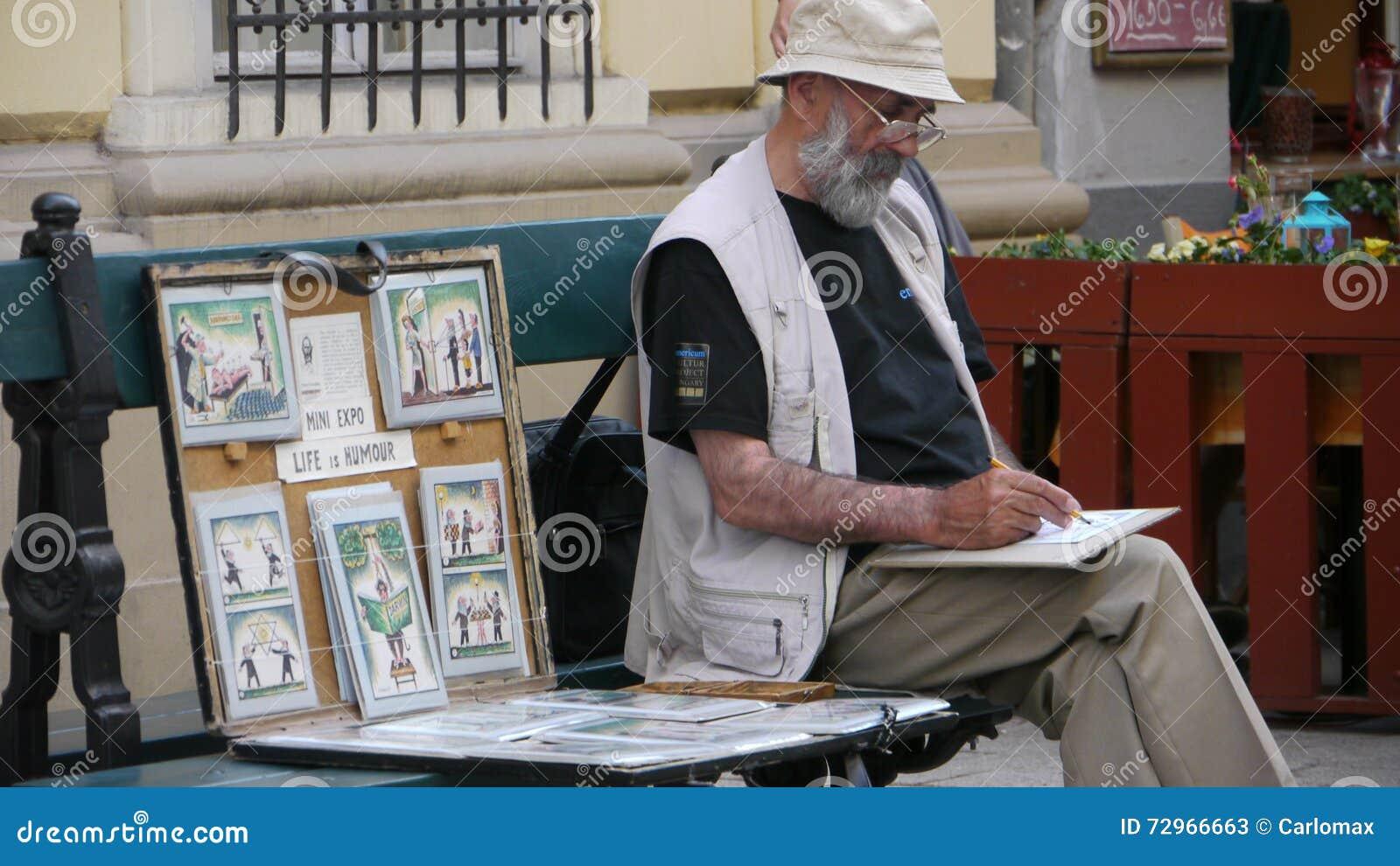 Humour cartoonist in Budapest