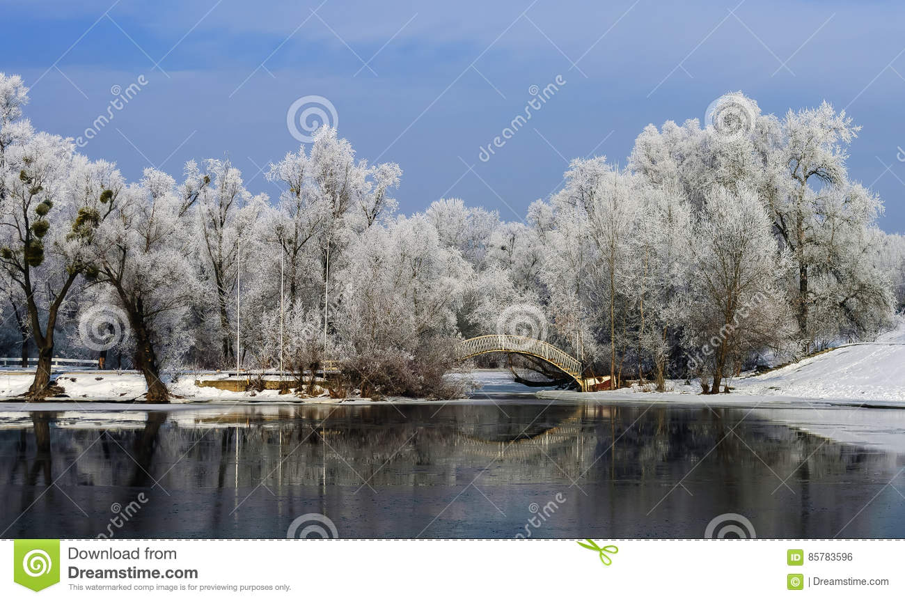 Humpback bridge over the river bay among large trees in frost.