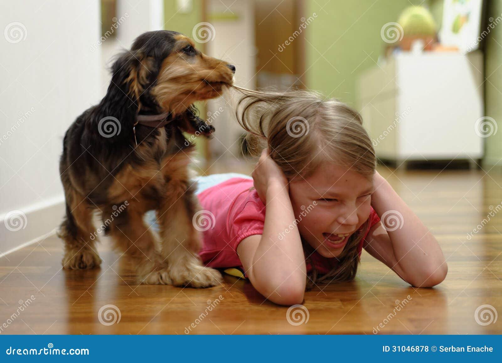 Hund, der das Haar des Mädchens zieht