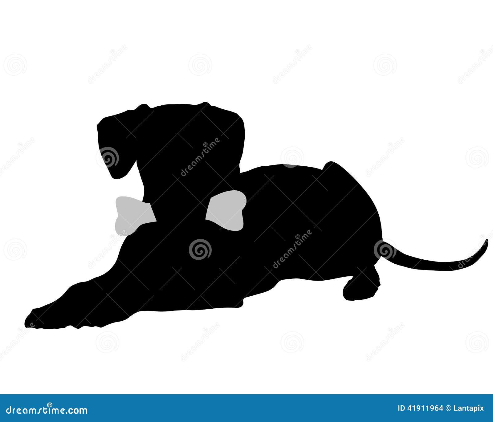 hund mit dem knochen vektor abbildung illustration von