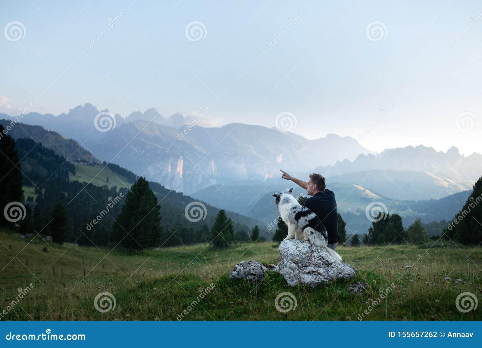 Hund mit einem Mann in den Bergen bei Sonnenaufgang Reise mit einem Haustier