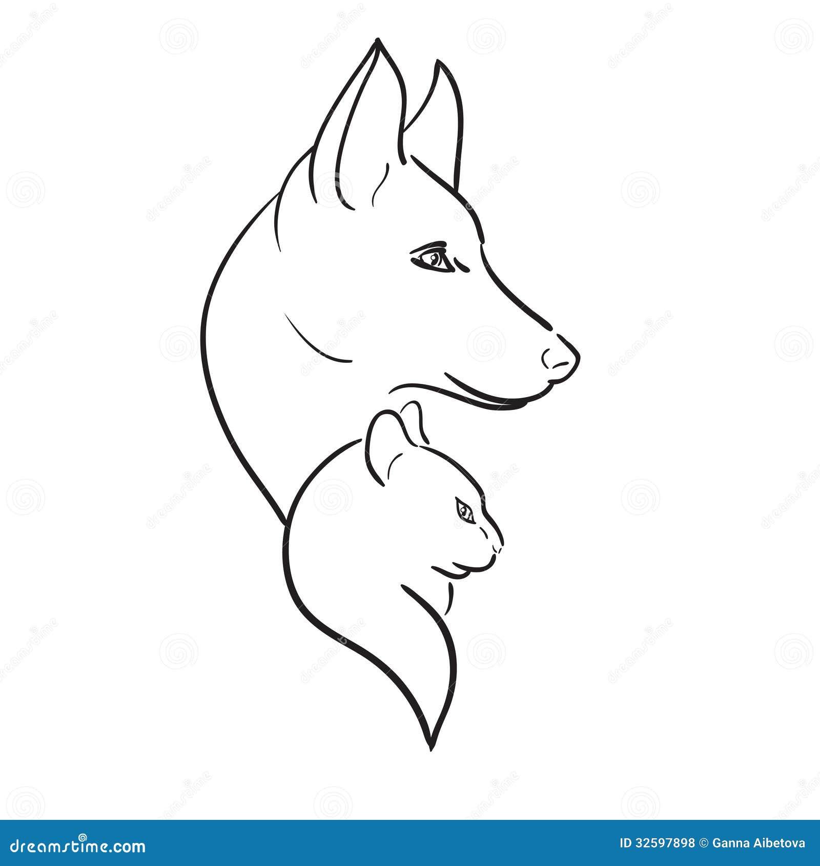 Hund och Cat Silhouettes. Vektorn skissar
