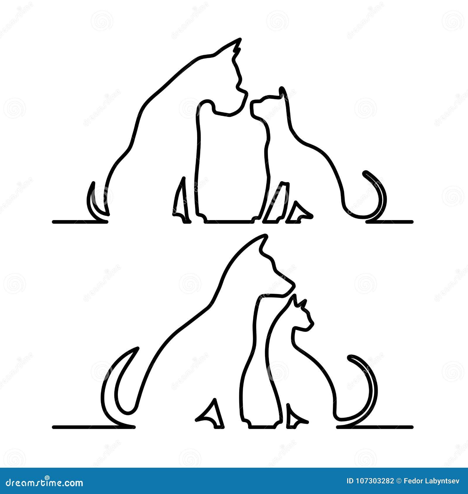 Hund och katt silhouette