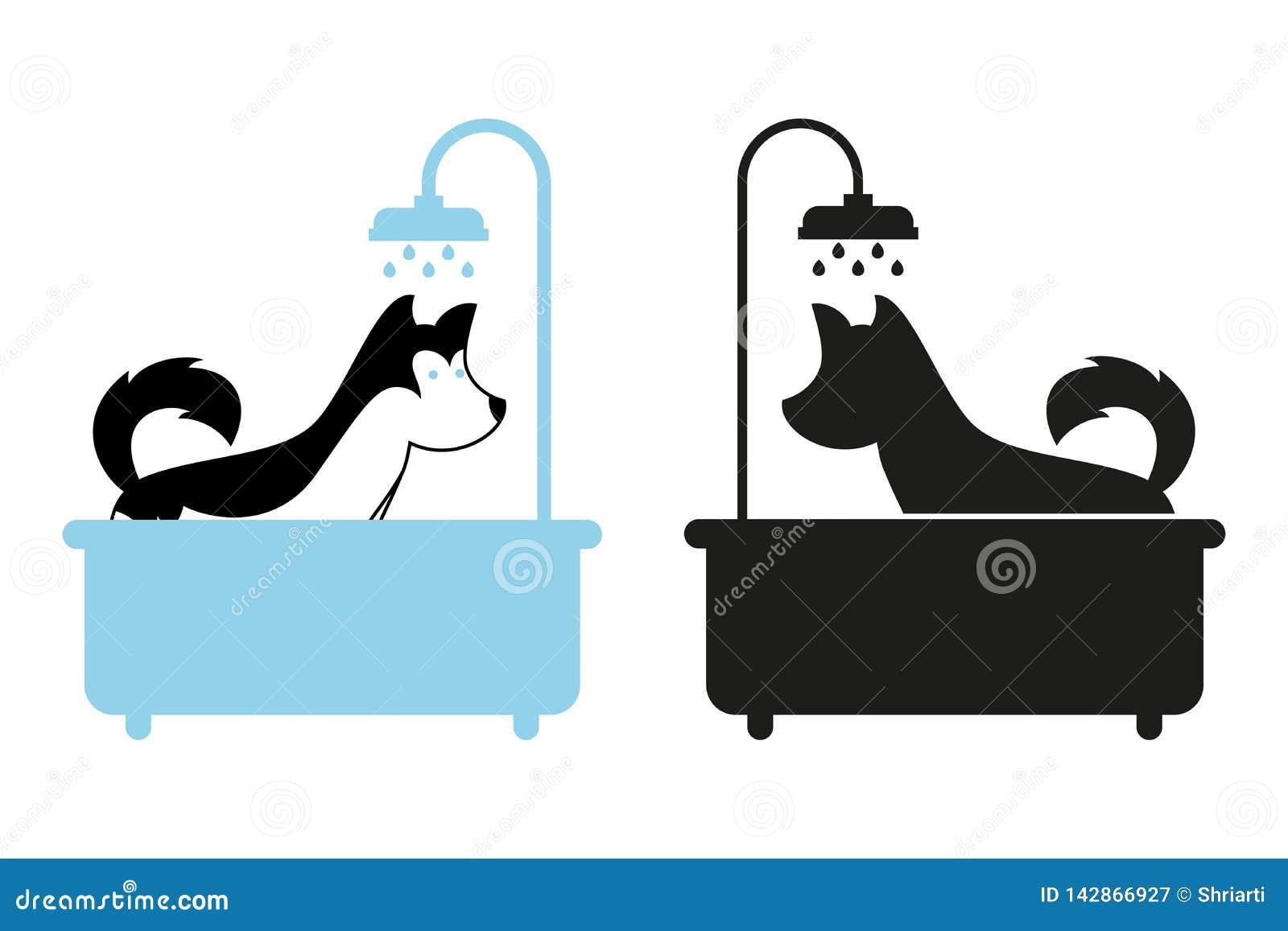 Hund som tar en dusch i badet