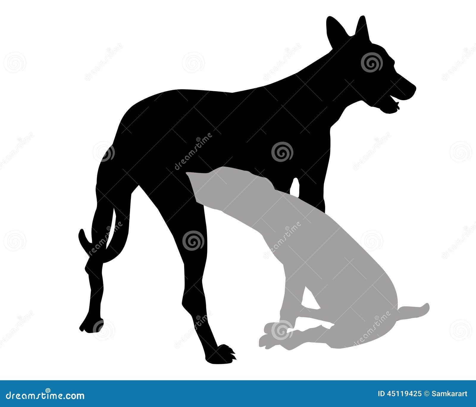 Hunde- u. Welpenschattenbildvektor