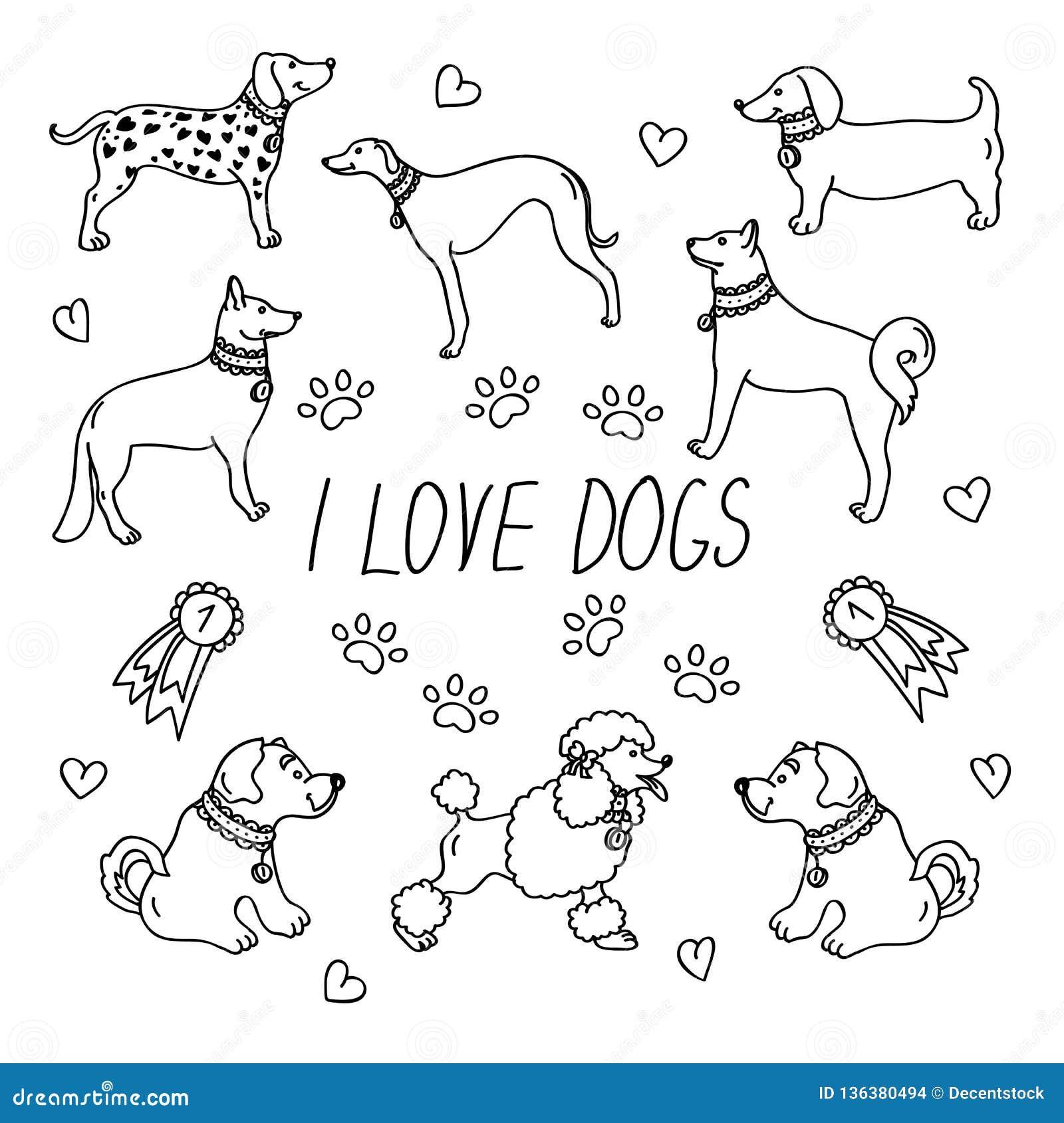 Hunderassen Eingestellt mit der Aufschrift liebe ich Hunde