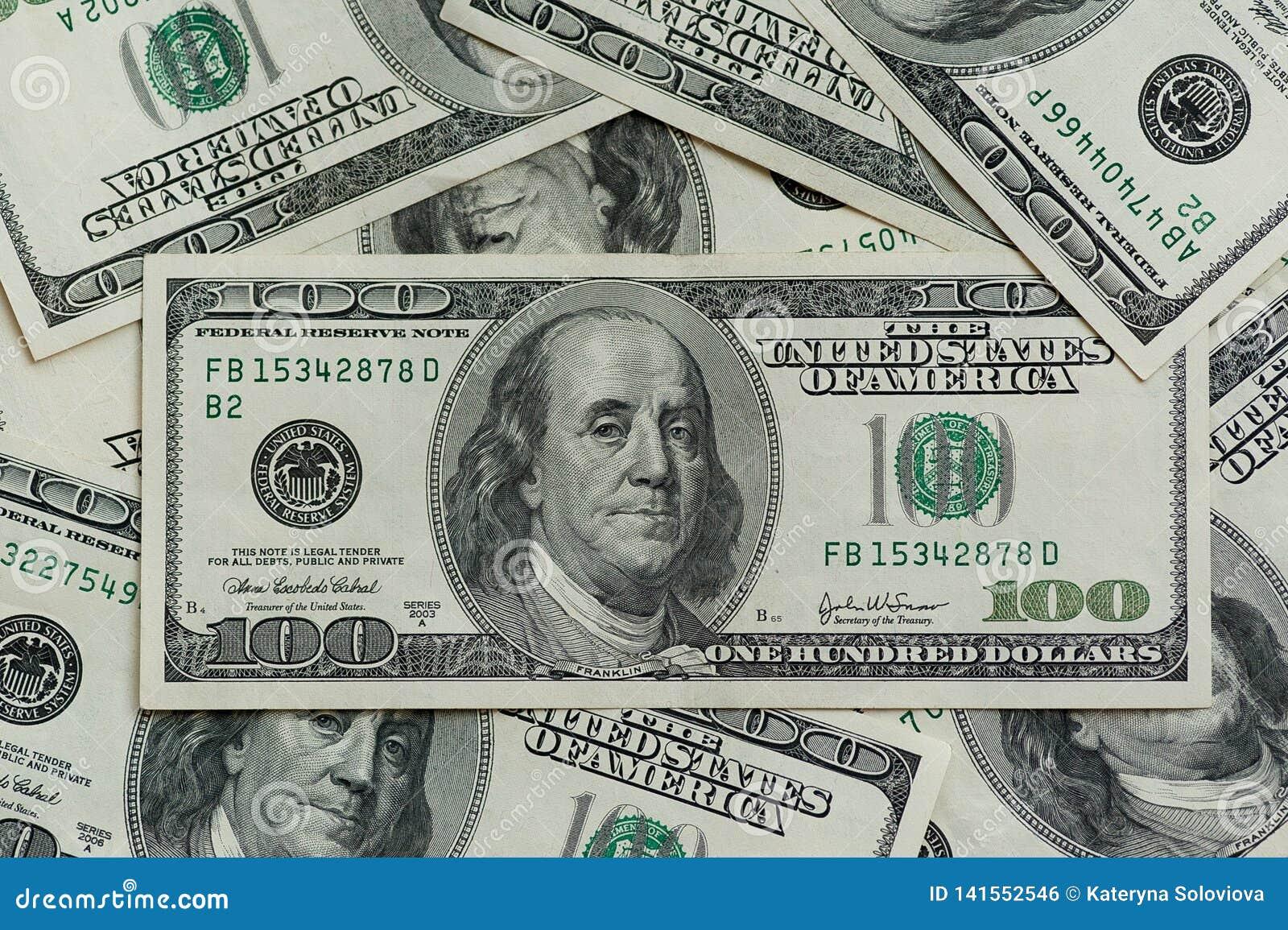 Hundert Dollarscheine Makrophotographie von Banknoten Der Bewegungskameraschieber