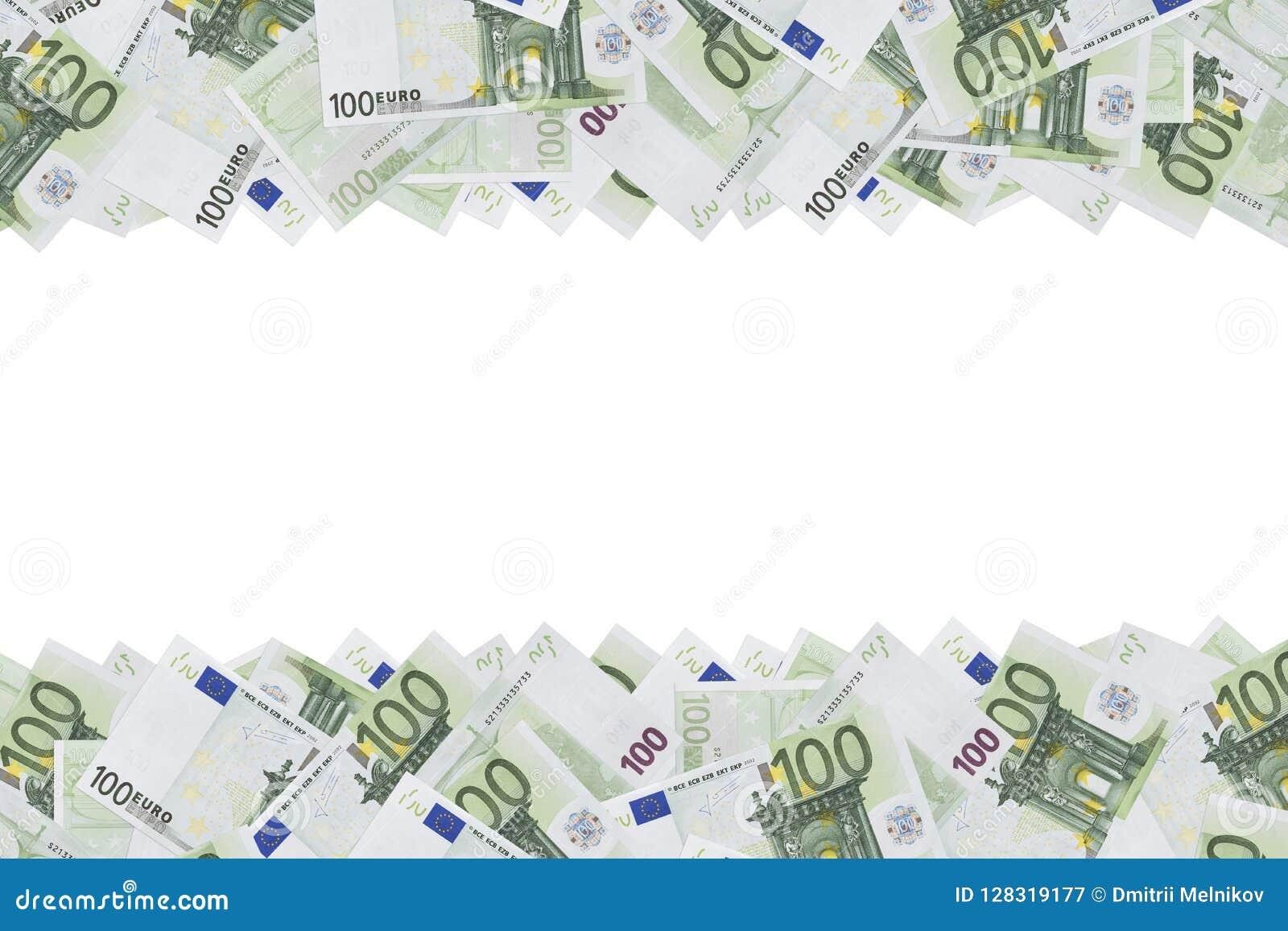 Hundert Eurobanknoten-Beschaffenheitshintergrund Hälfte des Hintergrundes wird mit Haushaltplänen von 100 Euros gefüllt Kopieren