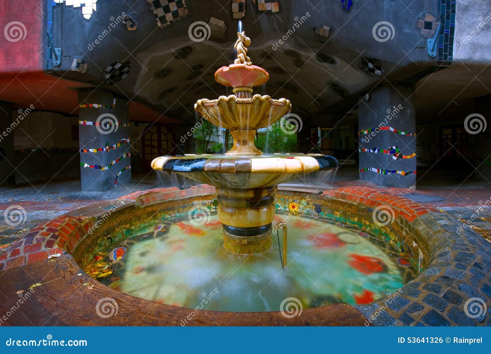 Hundertwasserhaus喷泉在维也纳,奥地利