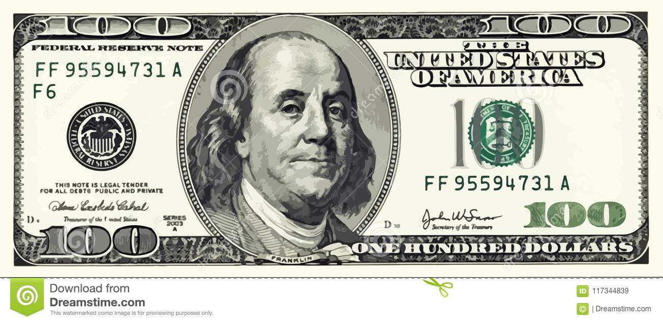 Hundra dollar Bill Illustration Vector