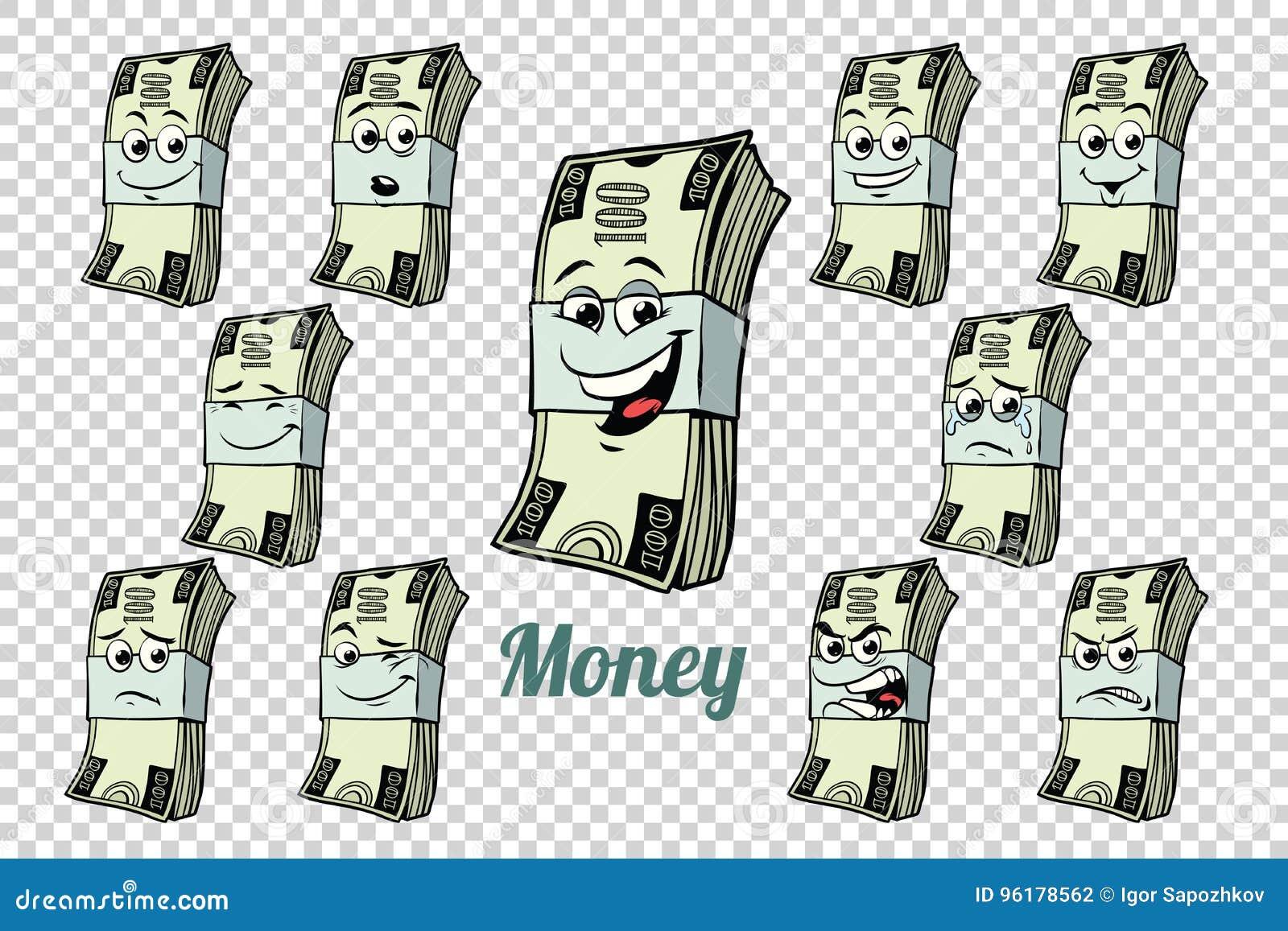 Hundra dollar kontant samling för emballagesinnesrörelsetecken