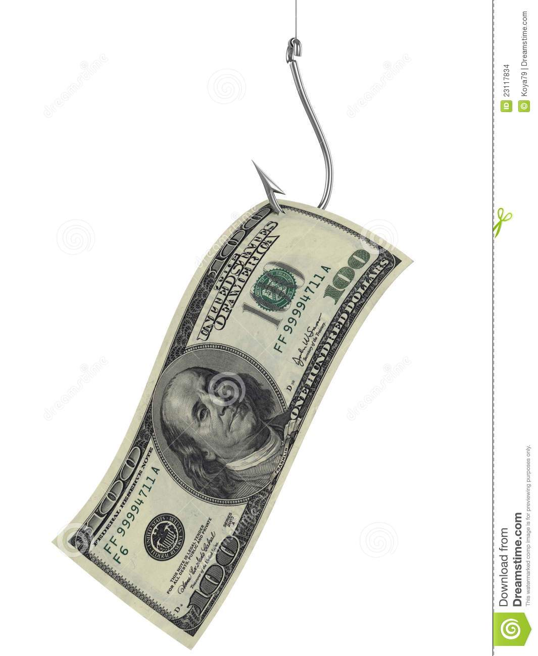 Hundred dollars as bait on fishing hook stock images for Fish for cash
