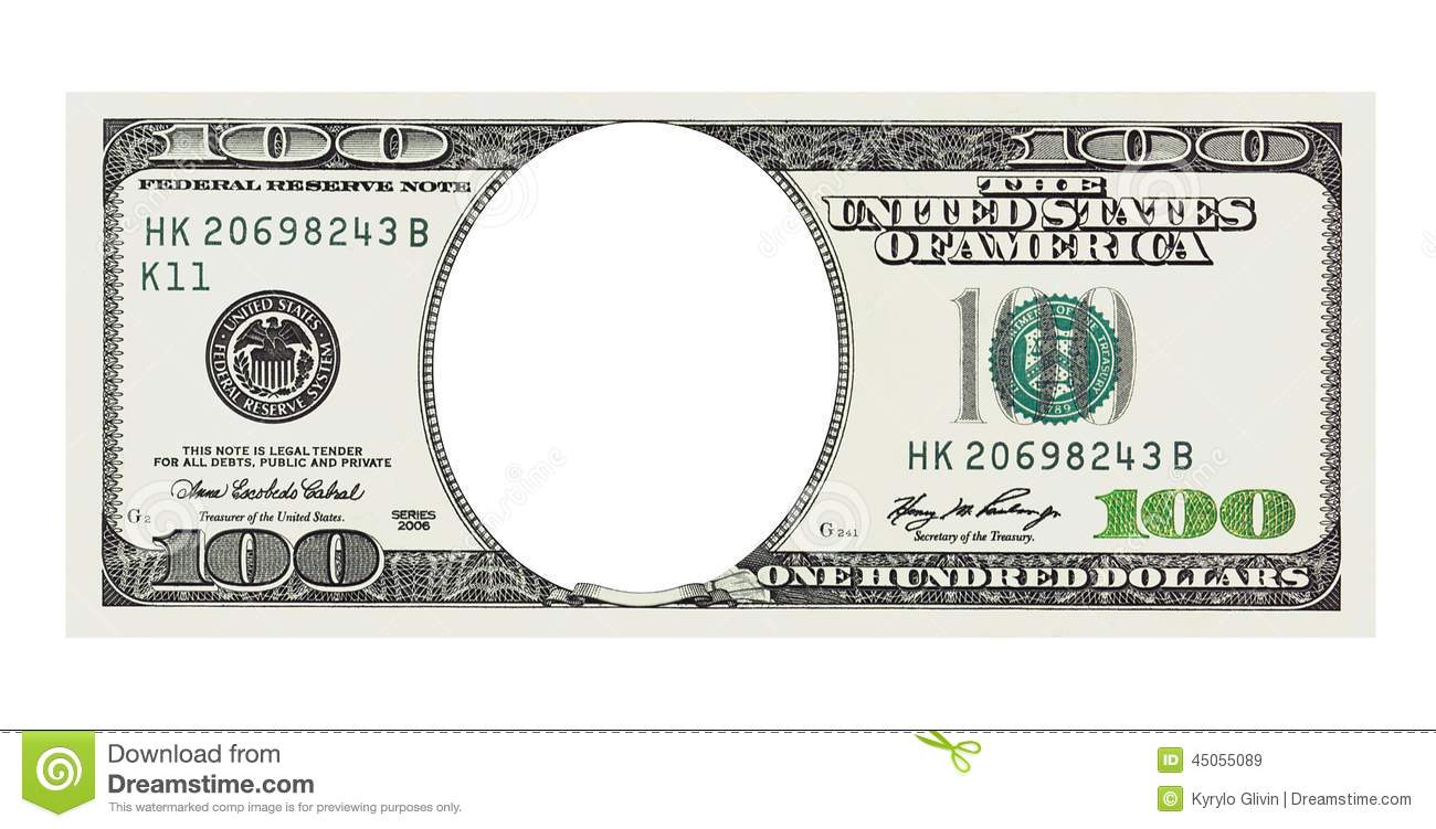 A Hundred Dollars Bill With No Face, Clipping Path Stock ...