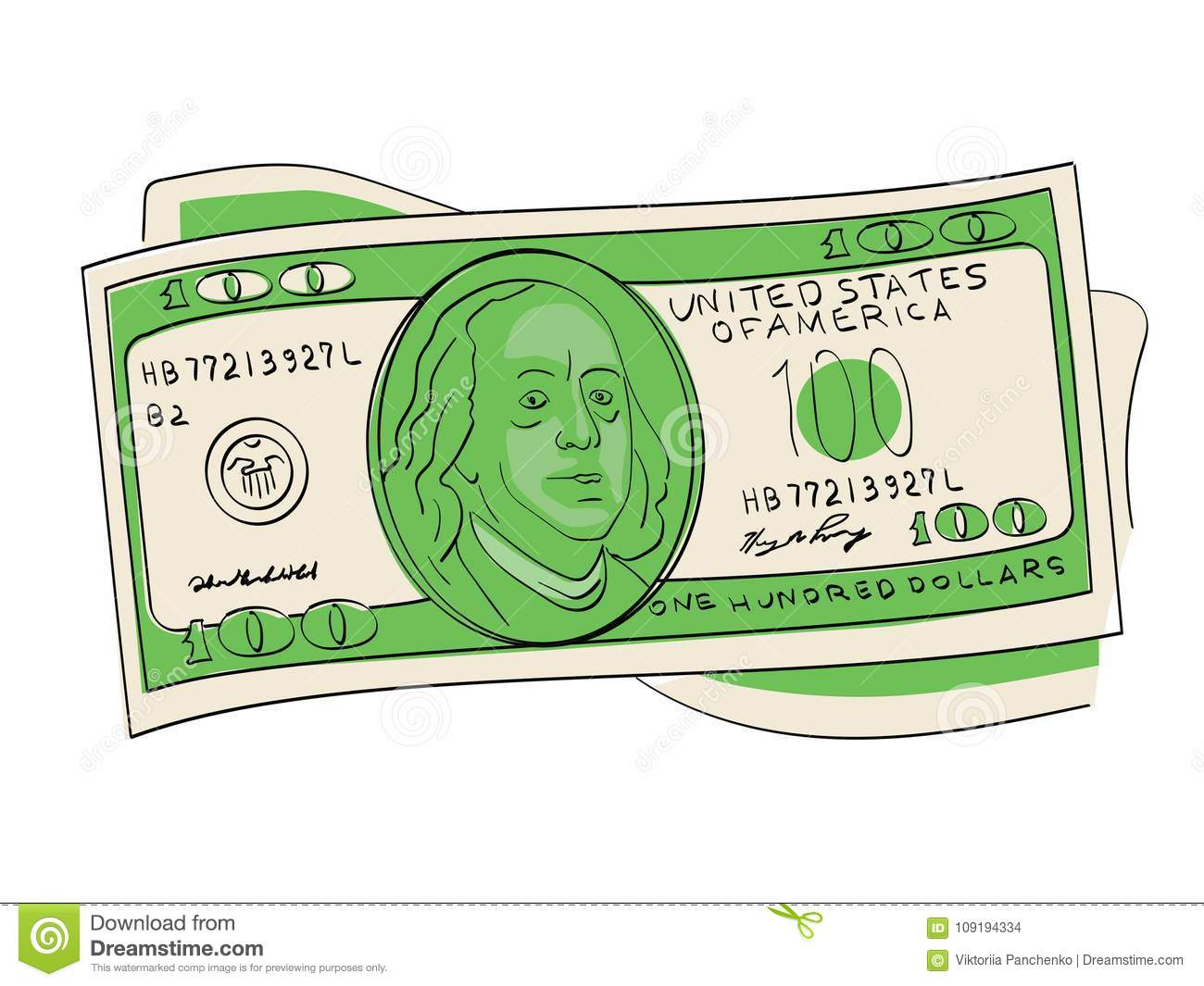 A hundred dollars pile object on a white background. Scientist, publicist and diplomat Benjamin Franklin