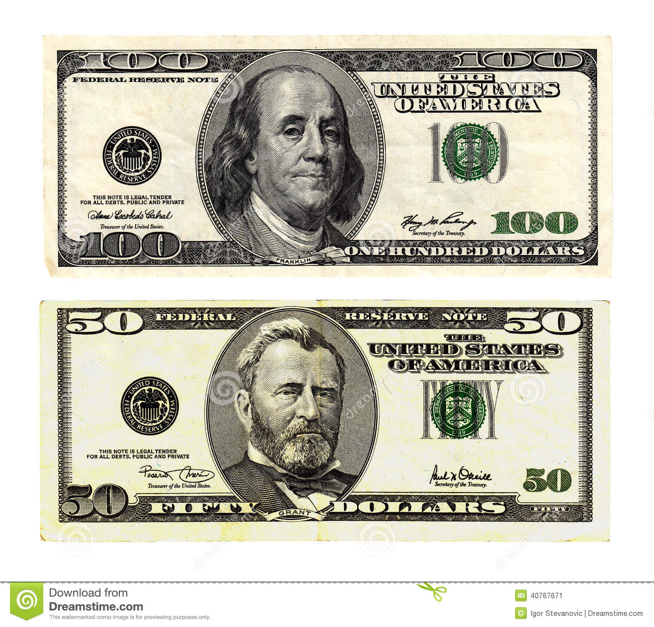 Hundred And Fifty Dollars Bills On White Background  Stock Image