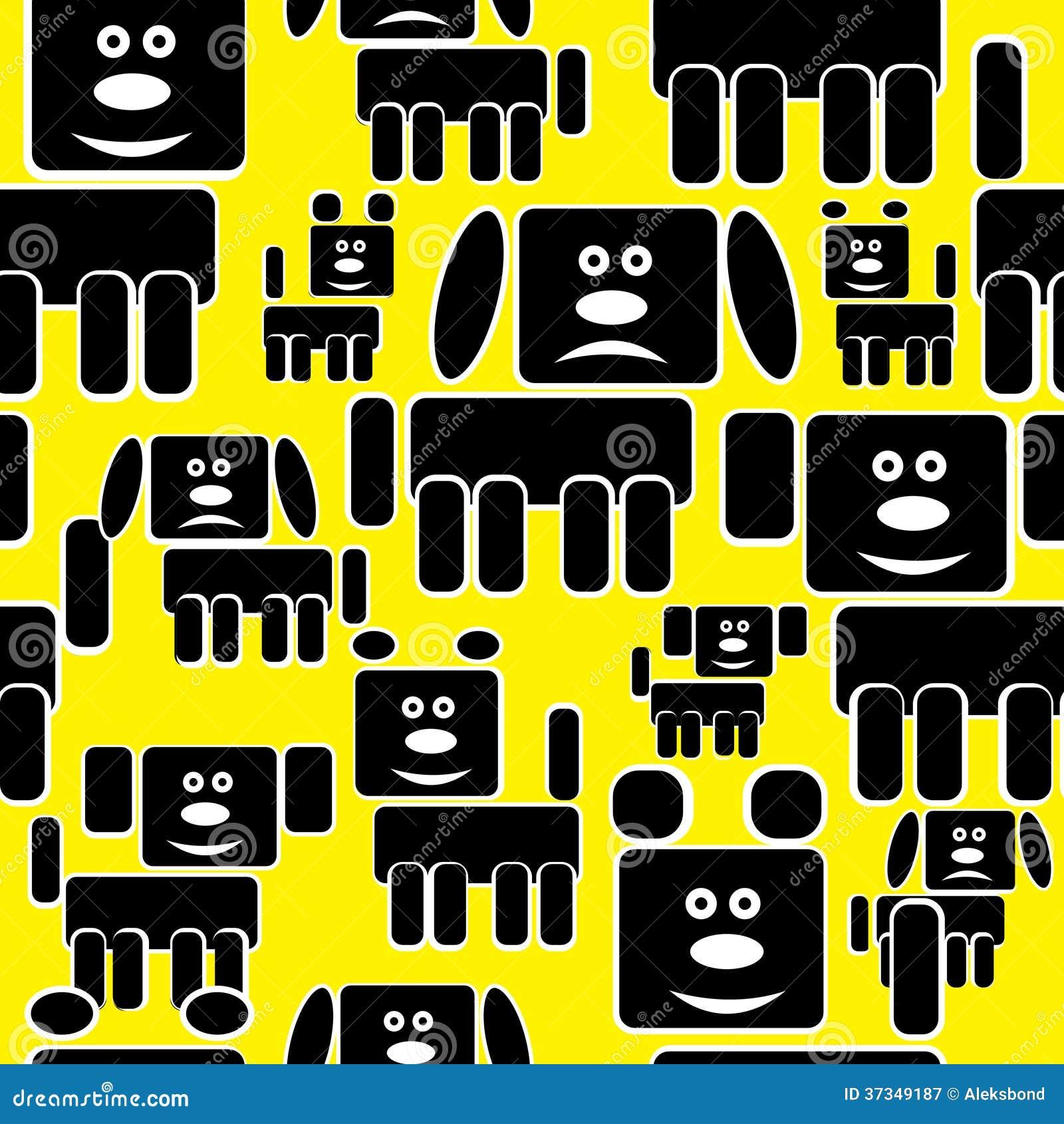 Hundsymboler på gul sömlös modell