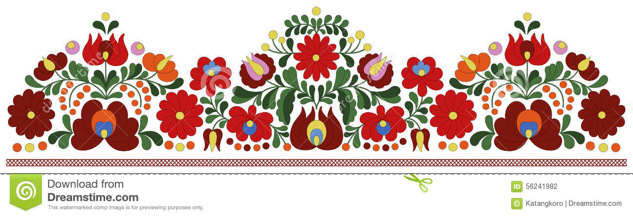 Hungarian Embroidery Border Pattern Stock Vector Illustration Of