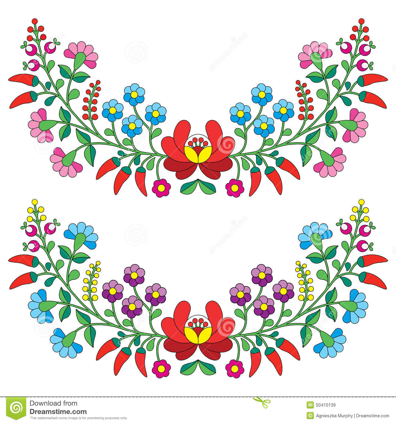 Hungarian Floral Folk Pattern - Kaloscai Embroidery With ...
