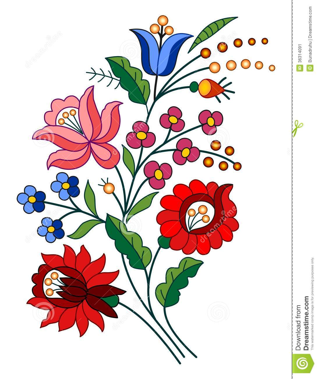 Hungarian folk motif stock vector. Illustration of flower - 36314091