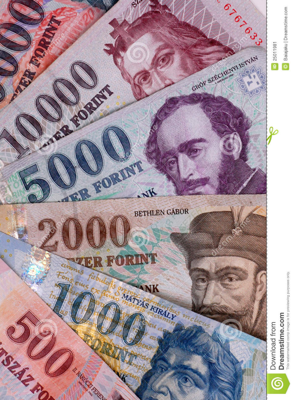 These are the hungarian banknotes, this is the forint.