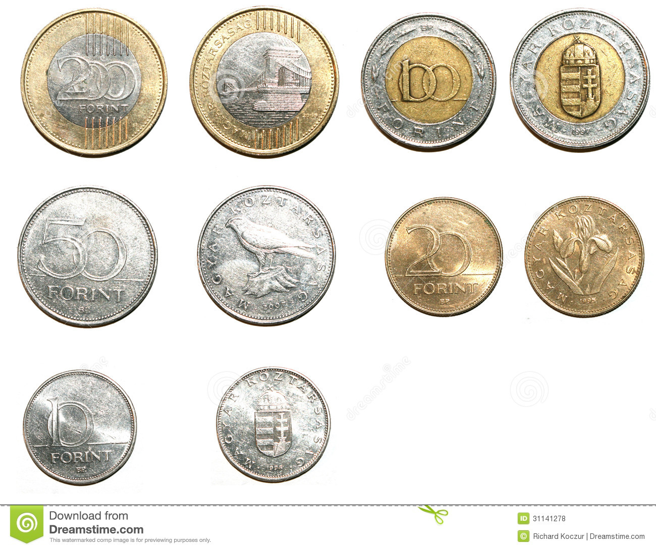 Hungarian Forint Coins Royalty Free Stock Photos - Image: 31141278