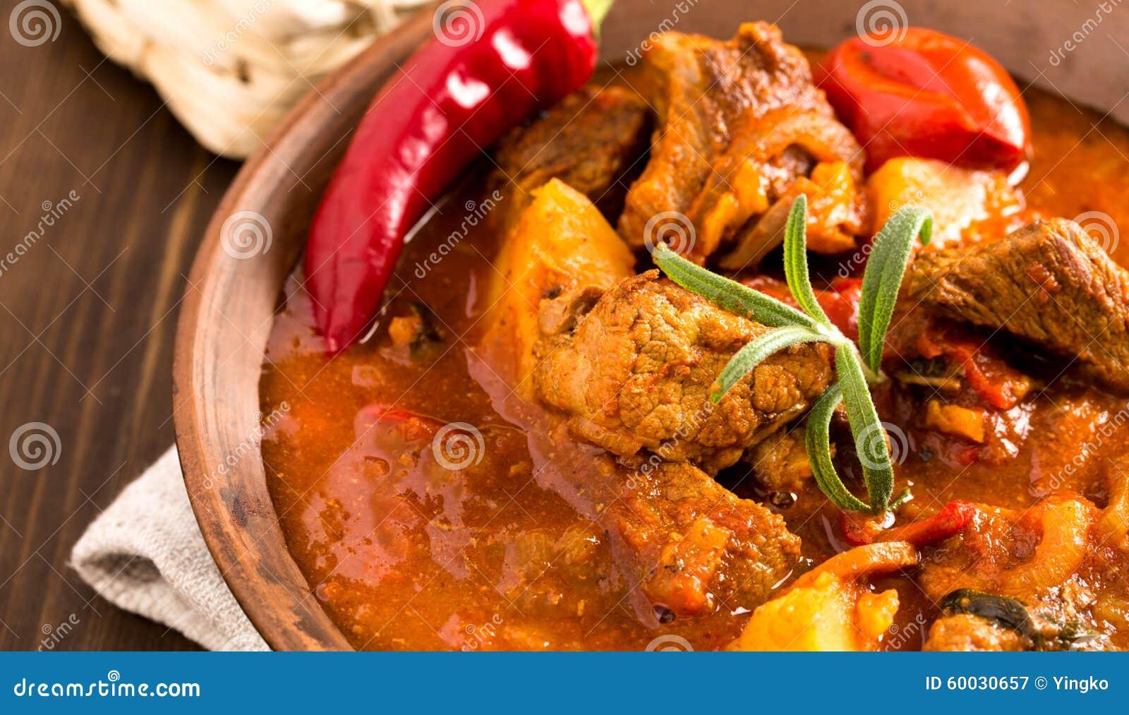 Hungarian goulash in plate closeup