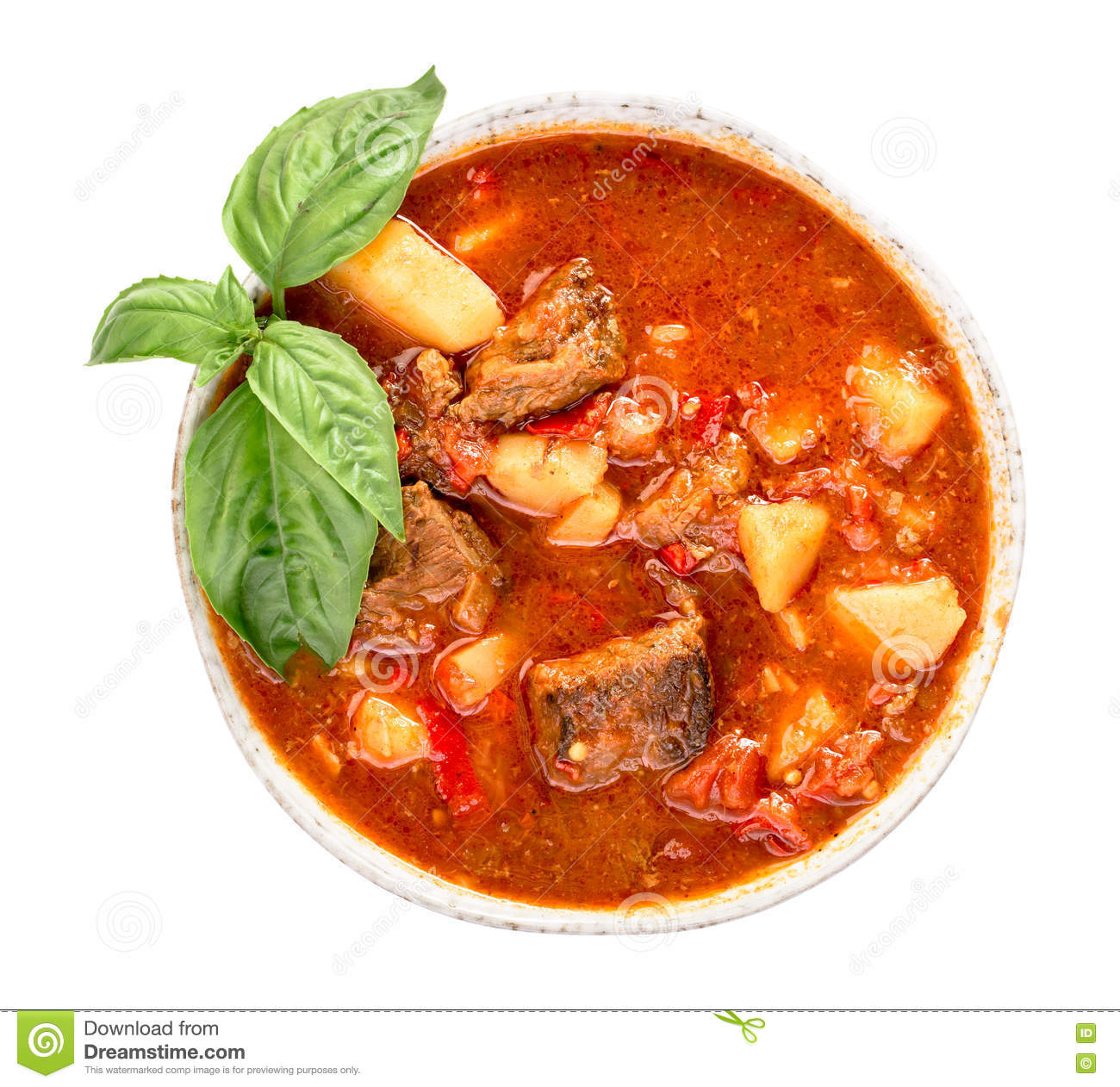 Hungarian goulash top view isolated