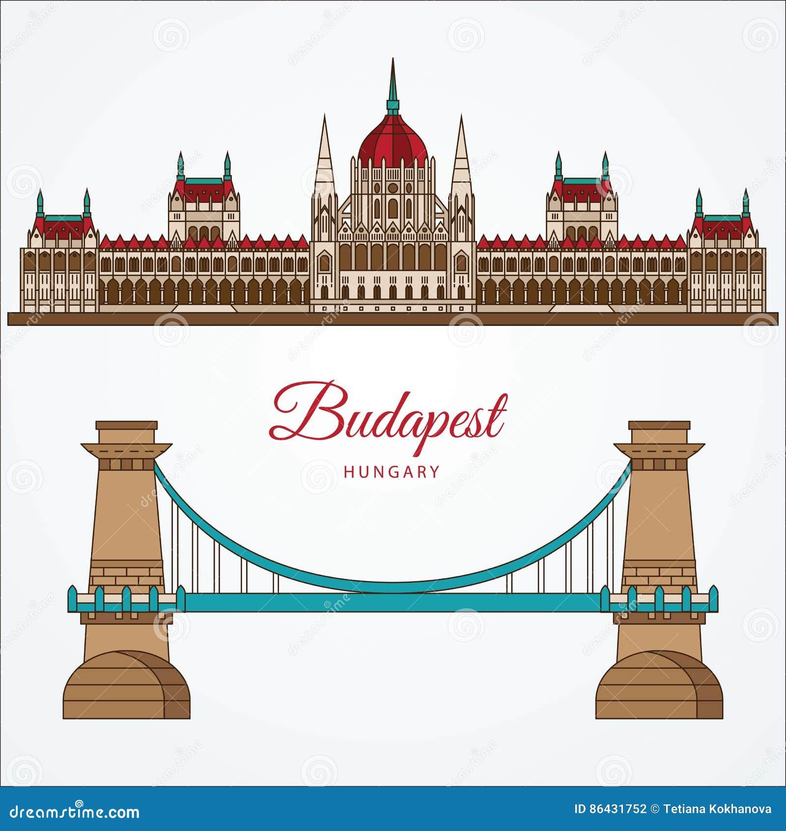 Budapest Parliament Hungary Vector Illustration Cartoon