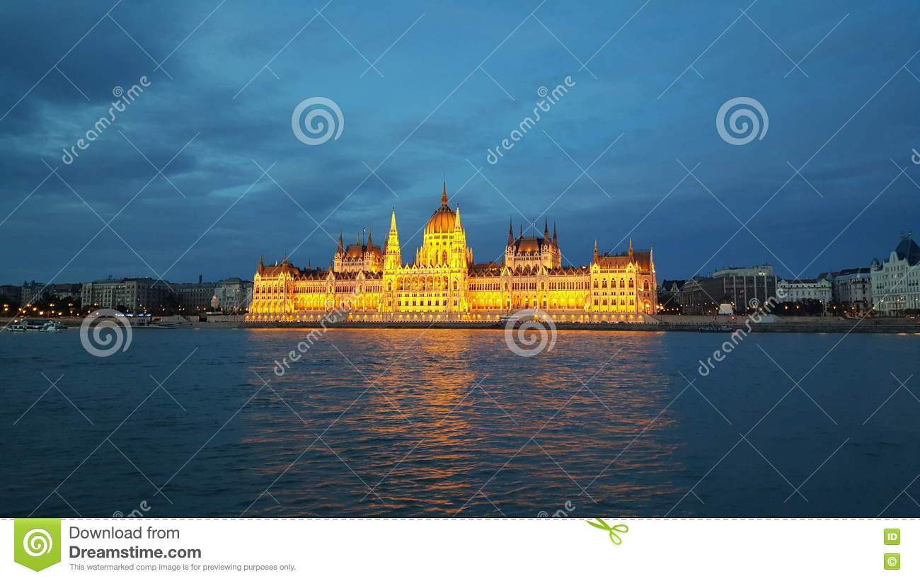 The Hungarian Parliament Building in the evening