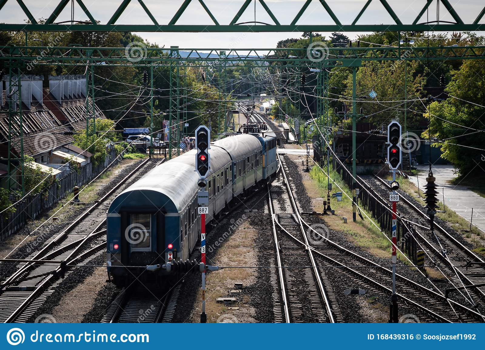 Train station from above editorial stock image. Image of