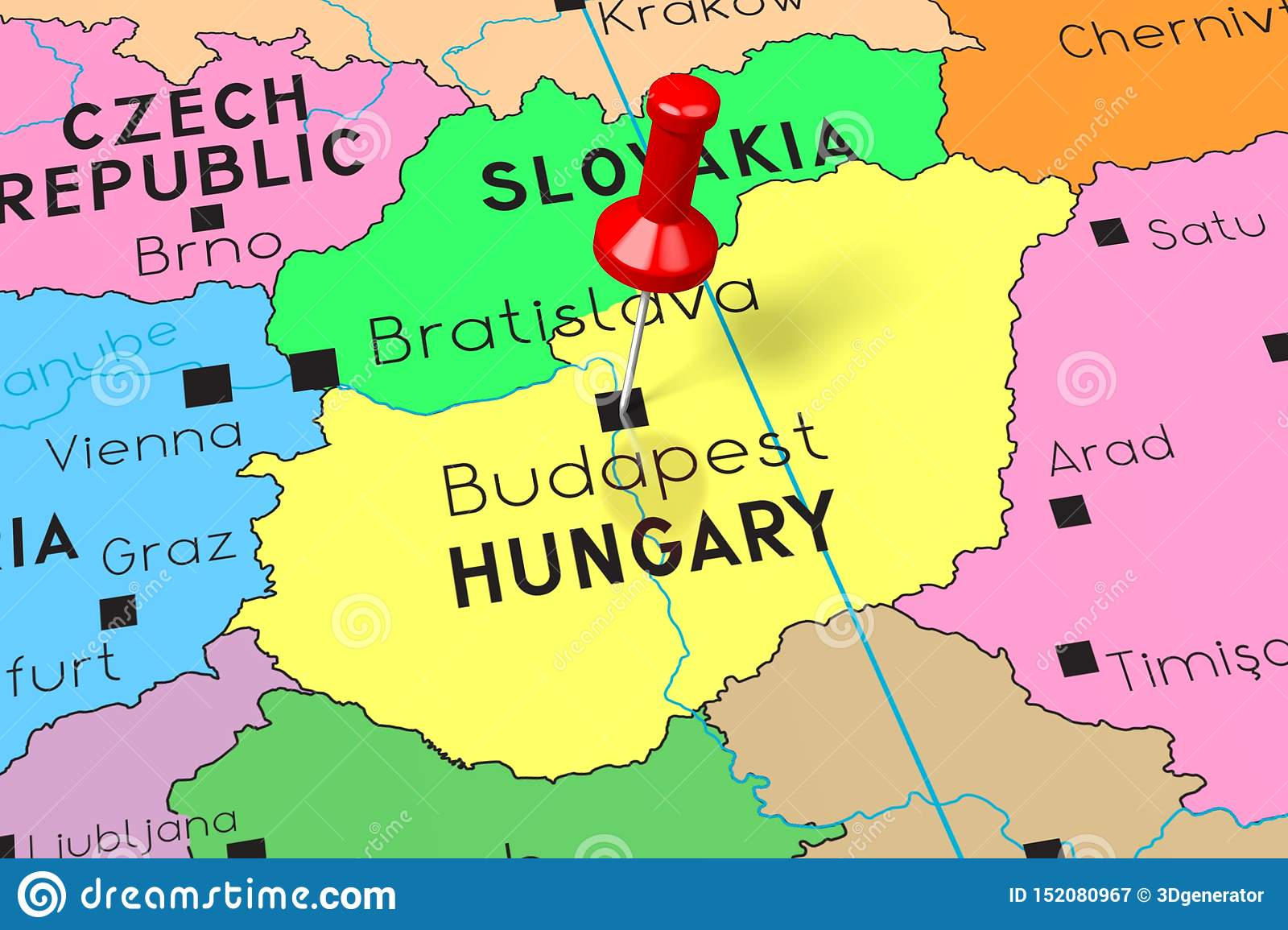 Hungary Budapest Capital City Pinned On Political Map Stock