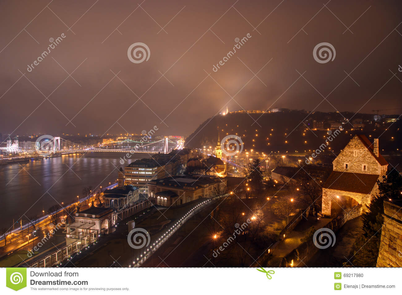 Hungary, Budapest, Elisabeth Bridge, Castle Garden , Varkert casino, Citadella on the hill and Gate in the Castle Buda by night